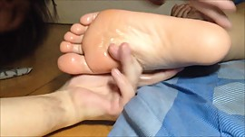 Wife's sleepy foot toes deep gagging, with fructose