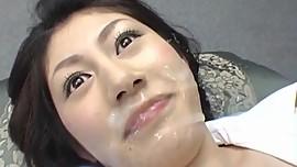 Alluring Mariko Shiraishi gives head, fucks and takes a big facial