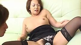 Rio Kurusu pretty Asian milf enjoys two cocks in a double date