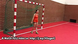 Harriet Sugarcookie in sports with Gina Gerson in Budapest