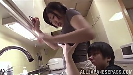 Asian Babe With Nice Ass And Big Tits Gives Tit Job And BJ In Kitchen
