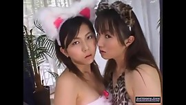 2 Asian Girls With Pet Ears Kissing Spitting Licking