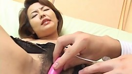 Rio Kurusu sucks two dongs she gets in her hairy licked crack