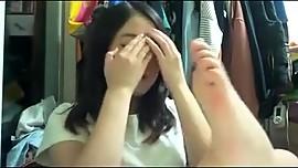 AsianSexPorno.Com - Japanese girl horny lick her nylon feet
