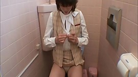 Office restroom to masturbate. Taking off the blouse and car