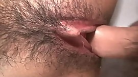 Pretty Busty Japanese MILF's Hairy Cunt Creampied